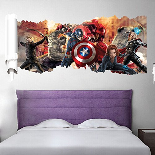[Sanbay 3d Avengers Alliance Removable Mural Wall Stickers Wall Decal Art for Kids Children Nursery Home] (Pink Lady Costume Images)