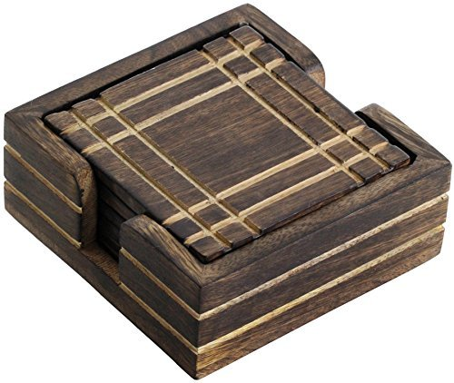 - #1 Drink Coaster - BIG SALE on Best SouvNear Complete 4 Mango Wood Drink Coasters and Holder Set - Handmade Brown Wooden Hand-Carved Square Beverage Coaster