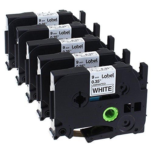 Label KINGDOM Compatible Brother P-Touch Label Maker Tape TZ TZe TZ221 TZe221 TZe-221 Black on White 9mm (3/8) x 8m (26.2 ft.) Laminated Label Tape, 5-Pack