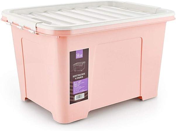 HUIQI Caja almacenaje Grandes de Almacenamiento de 100 litros, Respetuoso del Medio Ambiente Caja de plástico, Caja de almacenaje de la Rueda ((100L) Azul) Cajas almacenaje plastico (Color : Pink): Amazon.es: Hogar