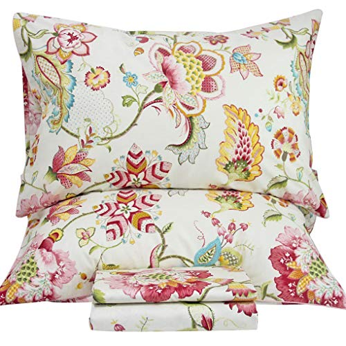 SexyTown Egyptian Cotton Duvet Cover Set,Floral Print Bedding Set 3-Piece Queen Floral B