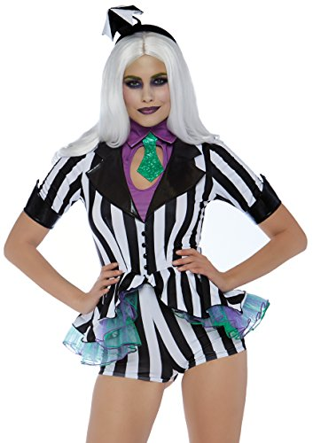 Leg Avenue Womens Beetle Babe 80s Halloween Costume, Black/White, Medium ()