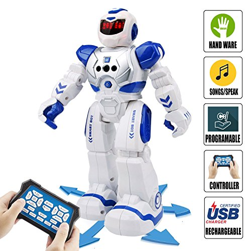 Remote Control RC Robot Toys - ROKKES Dancing Robot Kit For Kids , Robotic Toys With Infrared Controller, Programmable, Senses Gesture, LED Eyes, Singing, Speaking, BEST Robot Toy For Boys And Girls Robotic Toys