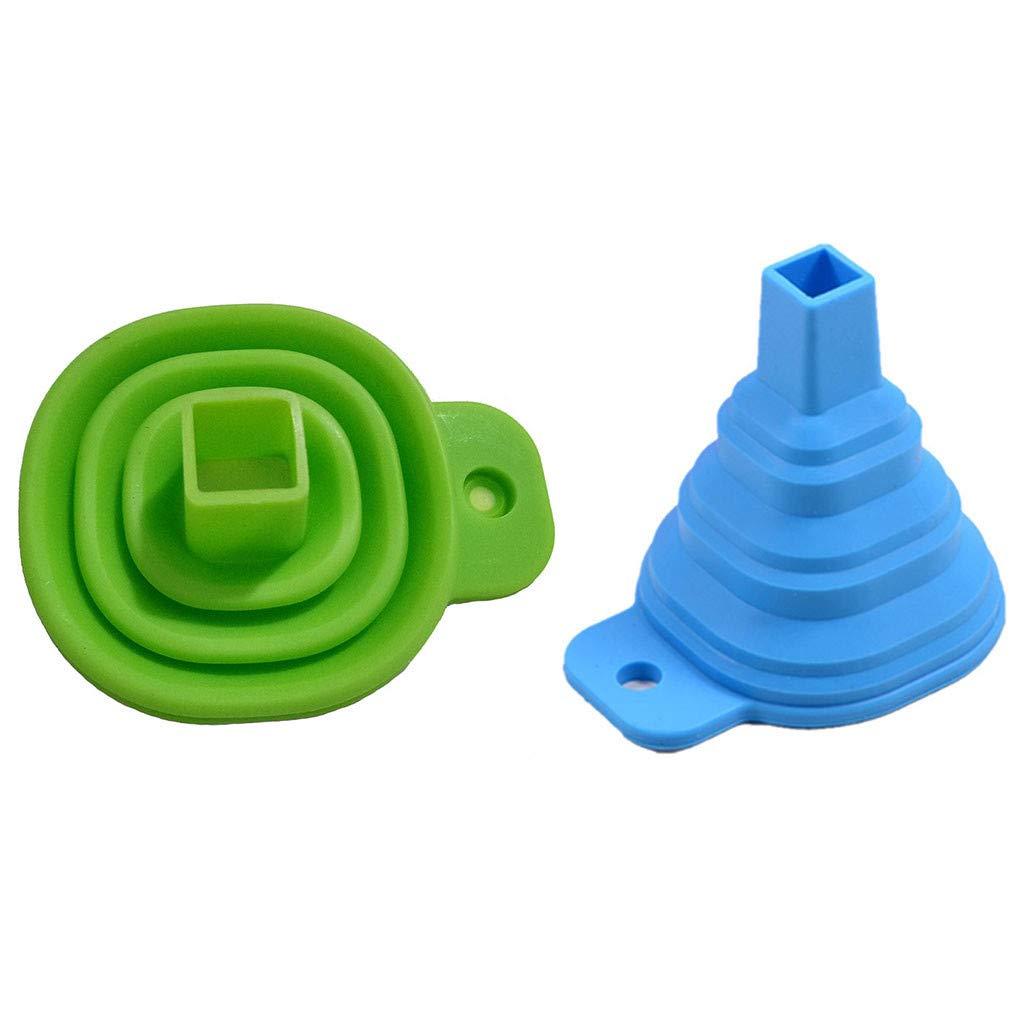 JDgoods Kitchen Home Mini Food Grade Silicone Folding Telescopic Funnel for Water/Oil/Fruit Juice/Liquid Transfer 2 PCS (Green+Blue)