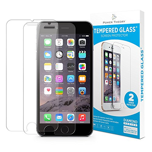 Price comparison product image Power Theory iPhone 8 Plus / iPhone 7 Plus Glass Screen Protector [2-Pack] with Easy Install Kit - Premium Tempered Glass for 7Plus & 8Plus