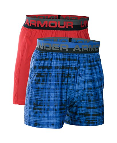 Under Armour Boys' Original Series Boxer Shorts 2-Pack, Powderkeg Blue/Red, Youth Large