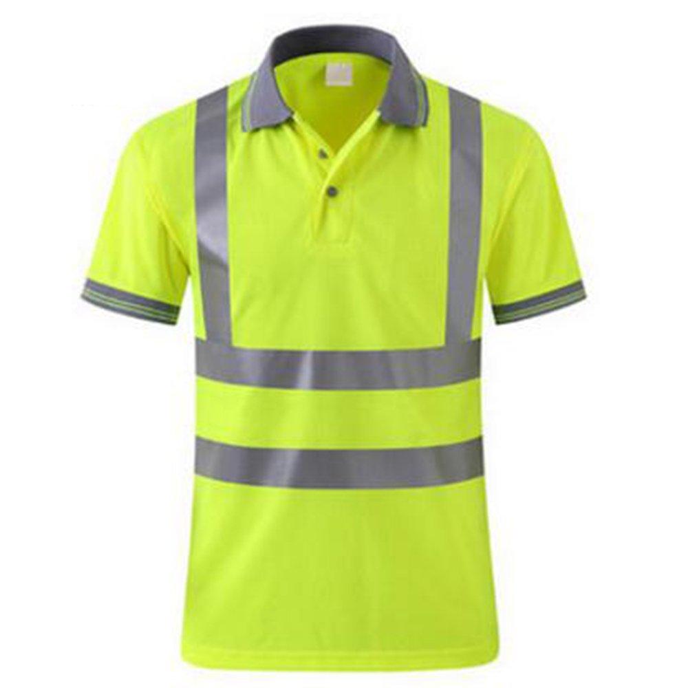 GOGO Men's Polo Shirts Hi Vis Short Sleeve Safety Work-wear Shirt-Yellow-L