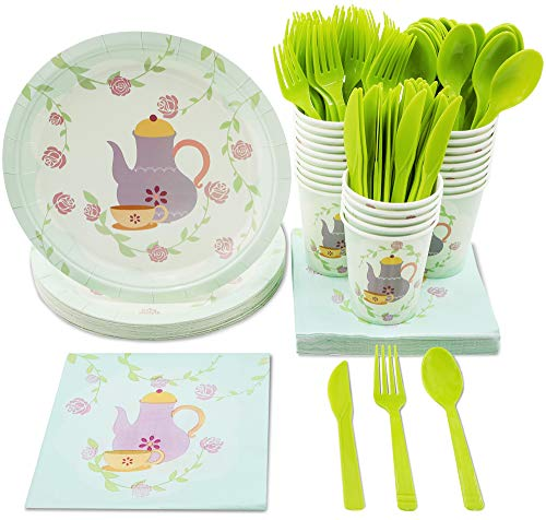 Tea Party Supplies - Serves 24 - Includes Plates, Knives, Spoons, Forks, Cups and Napkins. Perfect Birthday Party Pack for Girls Themed Tea Parties, Vintage Floral Tea Party Design
