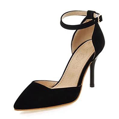 37d37e1946a8 Smilice Women Dressy High Heel Closed Toe Sandals Stiletto Ankle Strap Shoes  with Velvet Materail Size