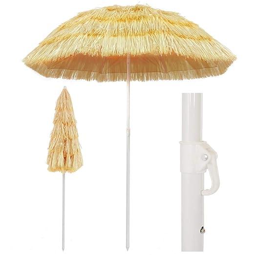 vidaXL Sombrilla de Playa Estilo Hawai Natural 180 cm Toldo Parasol Estructura