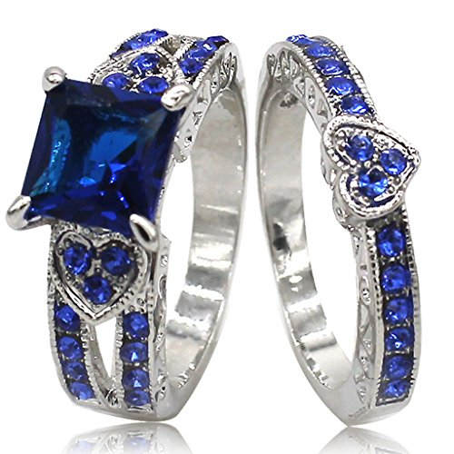 Jude Jewelers Rhodium Plated Blue Cubic Zirconia Heart Shaped Wedding Ring Set - Rings Heart Shaped Wedding