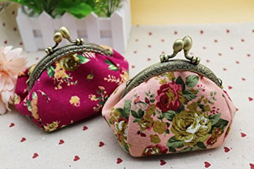 Retro Hot Lady Hasp Purse Women Baigood Hot Pink Wallet Bag Clutch Black Vintage Flower Sales New Small qwZHnpRXx