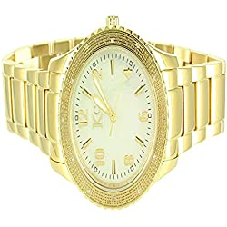 Elegant Mens Kc Techno Com Custom Gold Finish Stainless Steel Real Diamond Watch
