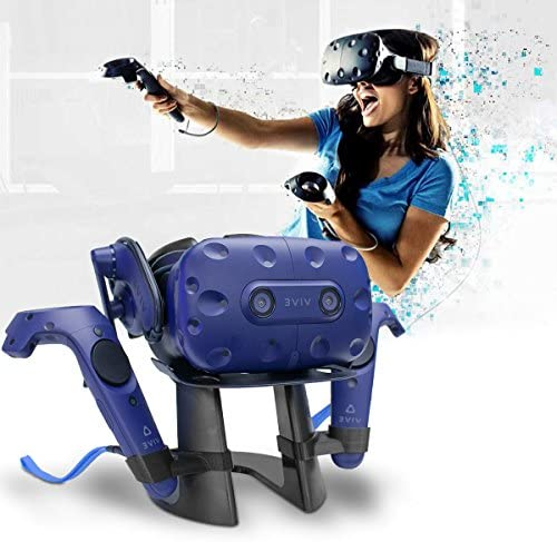 AFAITH VR Controller Holder and Display Stand, Virtual Reality Headset Storage Stand for HTC Vive Headset and HTC Vive Pro Headset (Black) 516CzVTUBRL
