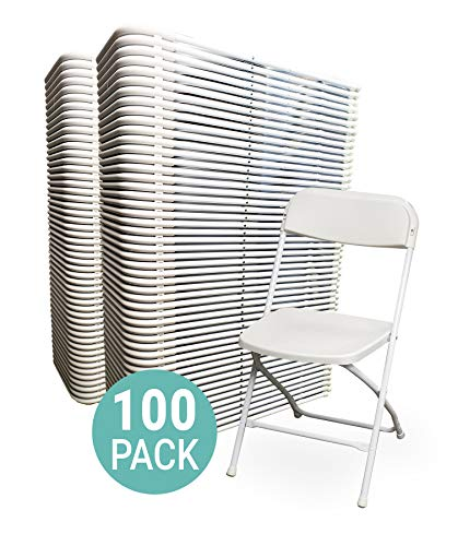EventStable TitanPRO Plastic Folding Chair - White, 100-Pack