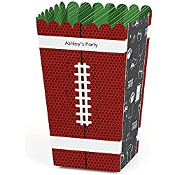 Big Dot of Happiness Personalized End Zone - Football - Custom Baby Shower or Birthday Party Favor Popcorn Treat Boxes - Custom Text - Set of 12