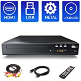 Sandoo DVD Player, Metal Shell, DVD Player for TV, Region Free DVD Player with HDMI/AV Cables, HD 1080P, Support USB, Remote Included, Built-in Signal System: PAL/NTSC/AUTO, MP2208
