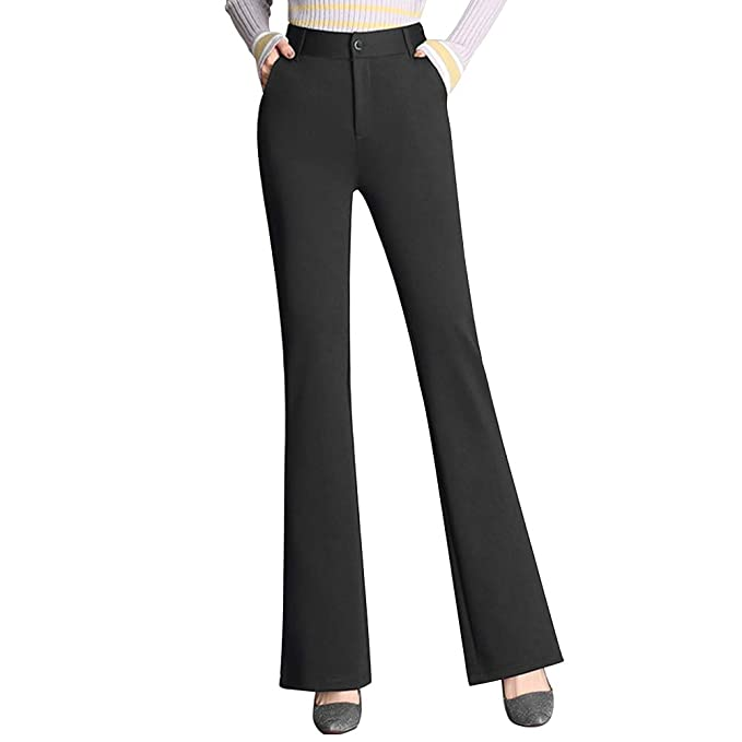 8bb9f376795a48 Faddare Women's Pants Bell-Bottom Flares Loose Pant Pull On Stretch Long Trousers  High Waist