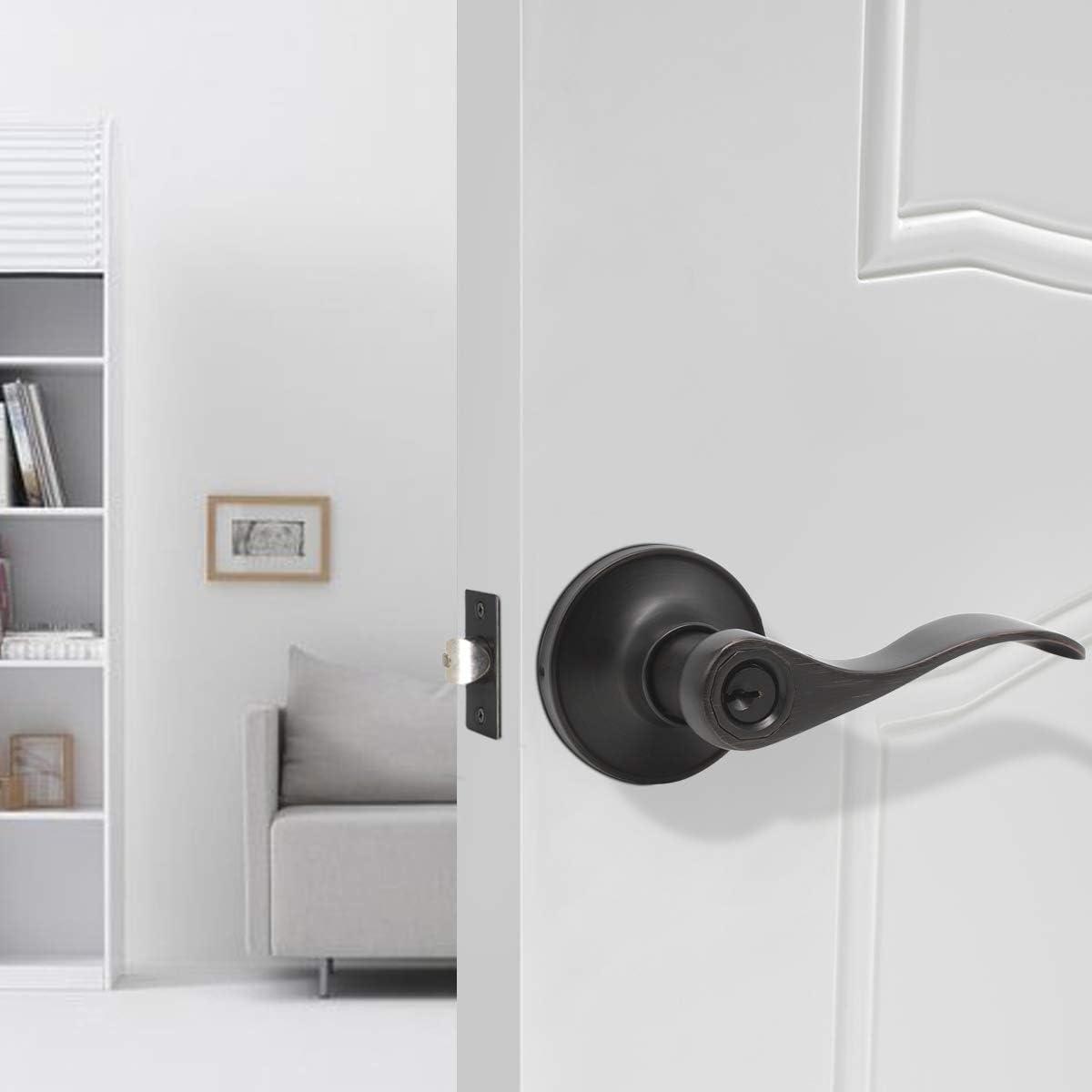 1 Pack Probrico Interior Bedroom Entrance Door Lever Door Lock Hanldeset One Keyway Entry Keyed Alike Same Key Entrance Lockset Oil Rubbed Bronze Each with 3 Keys-Right//Left Handed Reversible