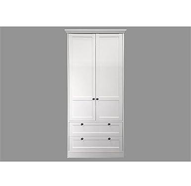Schon Meloo Kleiderschrank Landwood Landhausstil Schrank Weiß 2 Türen 2  Schubkästen,A