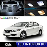 LEDpartsNow Honda Civic 2013 & up Xenon White Premium LED Interior Lights Package Kit (6 Pieces) + Install Tool