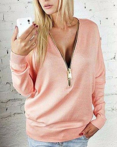 Loose Col shirt Longues Haut Femme Pink Blouse Manches Tops Casual Zippé À V T ngBx7qZwx