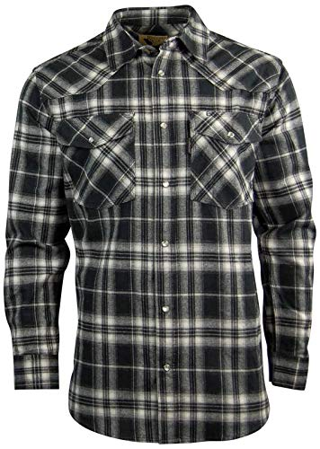 Rugged Elk Men's Midweight Flannel Shirt   Easy Open Snap Front (Large, Black (20B))