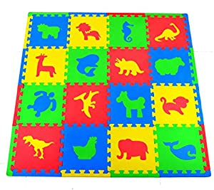 Joyin Toy 16 PCs Kids Puzzle Play Mat with Farm Animals, Safari Animals, Sea life, Dinosaur patterns by Joyin Toy