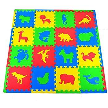 Joyin Toy 16 PCs Kids Puzzle Play Mat With Farm Animals, Safari Animals,  Sea Life, Dinosaur Patterns