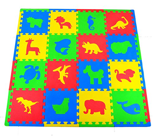 Joyin Toy 16 PCs Kids Puzzle Play Mat with Farm Animals, Safari Animals, Sea life, Dinosaur patterns