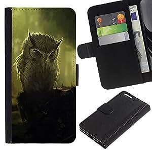 "Apple (5.5 inches!!!) iPhone 6+ Plus , la tarjeta de Crédito Slots PU Funda de cuero Monedero caso cubierta de piel ("" Owl Painting Art Vignette Bird Feathers"")"