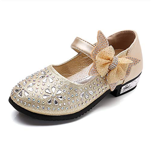 Little Girl's Mary Jane Flats Sparkle Princess Wedding Party Dress Shoes Low Heel Ballerina Shoes