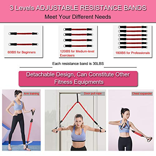 KIKIGOAL Upgraded Adjustable Pilates Resistance Band and Toning Bar 60IBS-180IBS Home Gym, Portable Pilates Total Body…