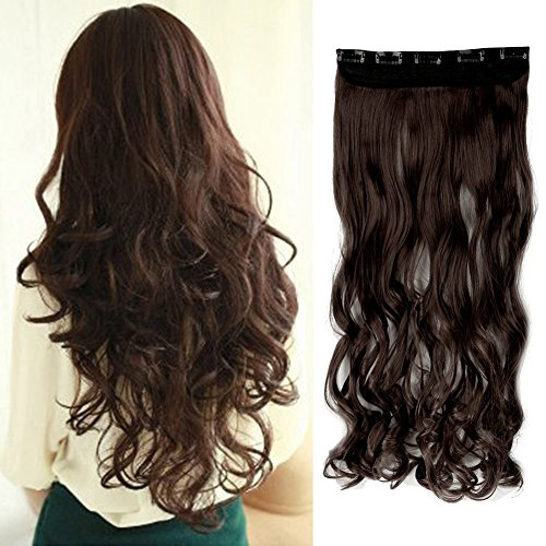 Cool 5 Minute Costumes (Women MEDIUM BROWN Long Curly 3/4 Full Head One Piece Clip in Hair Extensions 5 Clips 17 Inches)