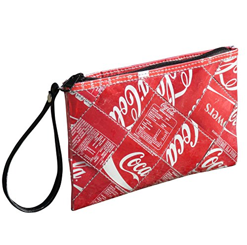 Medium wristlet made from Coke can - FREE SHIPPING - coca cola upcycled recycled clutch art handmade style design Fair trade ethical fun presents inspiring alternative ideas functional beautiful by Upcycling by Milo