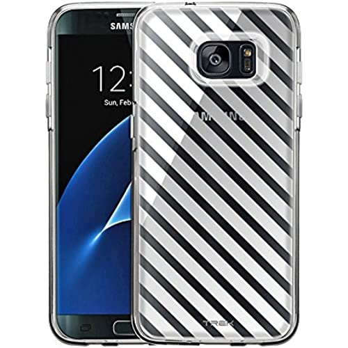 Samsung Galaxy S7 Edge Case, Slim Fit Snap On Cover by Trek White Diagonal Lines Clear Case Sales
