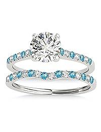 Diamond and Blue Topaz Single Row Bridal Set 14k White Gold (0.22ct)