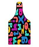 Lunarable ABC Kids Cutting Board, Vibrant Mixed Alphabet Hippie Style Childish Cheerful School Days Illustration, Decorative Tempered Glass Cutting and Serving Board, Wine Bottle Shape, Multicolor