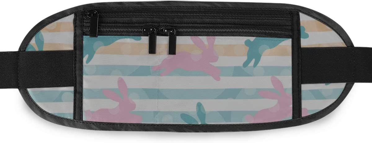 Happy Easter Pattern Bunnies Rabbits Running Lumbar Pack For Travel Outdoor Sports Walking Travel Waist Pack,travel Pocket With Adjustable Belt