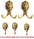 5 Brass Wall Mount Coat Keys Hook Hat Hanger LION Head VICTORIAN Wildlife 6705