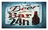 Lunarable Retro Doormat, Grunge Beer Bar 24h Figure Old Pub Sign Emblem Restaurant Graphic Design, Decorative Polyester Floor Mat with Non-Skid Backing, 30 W X 18 L inches, Maroon Dark Brown Teal