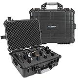 Elkton Outdoors Hard 5 Gun Case, Fully Customizable Hand-Gun Pistol Case, Holds 5 Handguns and 10 Magazines, Crush Resistant and Waterproof, Black