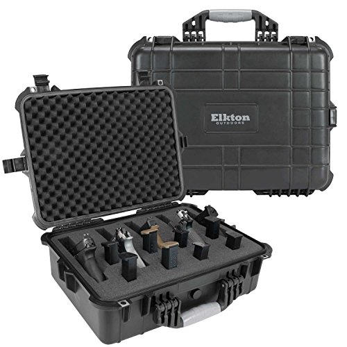 Elkton Outdoors Hard Gun Case: Fully Customizable Pistol Case: Holds 5 Handguns and 10 Magazines: Crush Resistant & Waterproof! (Four Pistol Case)