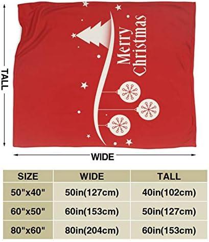 AndrewTop Couverture Polaire Cadeau de Noël Salutation de décoration de Fond Rouge Joyeux Noël Jeté de Canapé Flanelle Douce au Toucher-80 x60