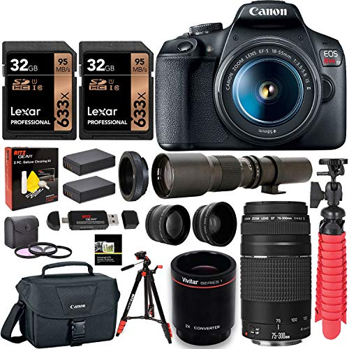 Canon EOS Rebel T7 DSLR Camera Double Zoom Kit(Successor for EOS Rebel T6) + EF 75-300mm f/4-5.6 + 500mm Preset f/8 Telephoto Lens + 0.43x Wide Angle, 2.2X Pro Bundle+ Tripod+ Lexar 64GB Bundle