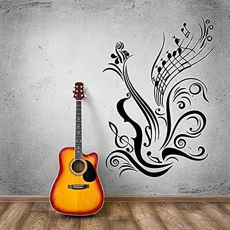 WJYdp Pegatinas De Pared Nota De La Guitarra Etiqueta De La Pared Estilo Musical Vinilo Decoración Musical Diseño Notas De Guitarra Acabado En Vinilo Tamaño ...