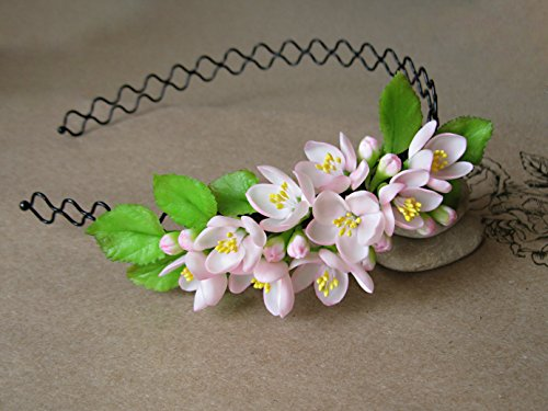 Spring wedding bridal headband pink Flower halo Floral crown Apple blossom head band Delicate blooming hair piece for Brown hair Cherry Sakura green leaves Botanical - Forest Cherry Wine