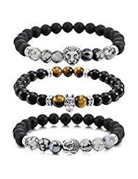 MOWOM Silver Gold Two Tone Black 8mm Wide Alloy Bracelet Bangle Link Wrist Simulated Agate Energy Stone Buddha Mala Bead Elastic
