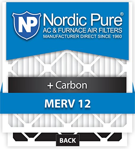 Nordic Pure 14x14x1M12+C-12 MERV 12 Plus Carbon AC Furnace Air Filters, Qty-12