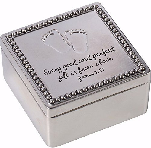 Precious Moments Every Good And Perfect Gift Is From Above Baby Footprints Zinc Alloy Keepsake Trinket Box, (Above Box)